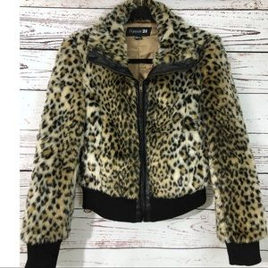Forever 21 Leopard Faux Fur Bomber Short Jacket